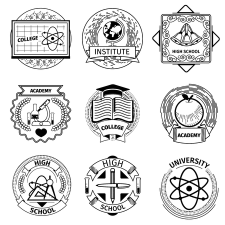 university text: High education, university and academy logotypes. College and institute, school logo, vector illustration