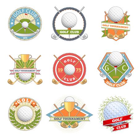 ゴルフクラブのロゴを設定します。ゴルフ ラベル、バッジ。ロゴタイプ競争またはゲーム、トーナメント シンボル ベクトル図