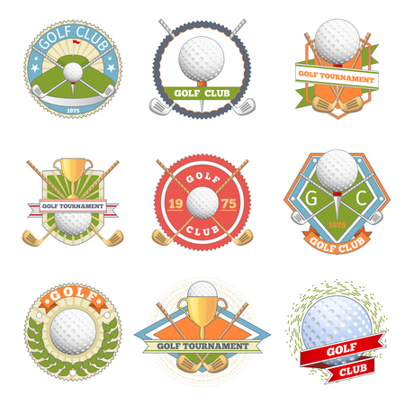 Golf club logo set. Golf labels and badges. Logotype competition or game, tournament symbol, vector illustration