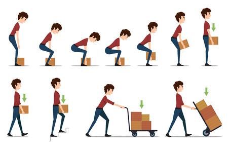 the handle: Manejo seguro y transporte de objetos pesados. Box y el hombre, la carga y el trabajador, cartón entrega, distribución y peso, ilustración vectorial