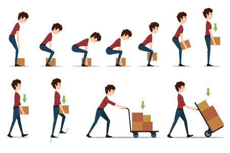 box weight: Safe handling and transportation of heavy items. Box and man, cargo and worker, delivery cardboard, distribution and weight, vector illustration