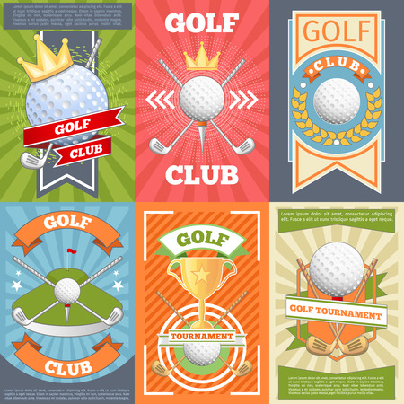 Golf club posters. Banner competition, game and tournament, vector illustration Illustration