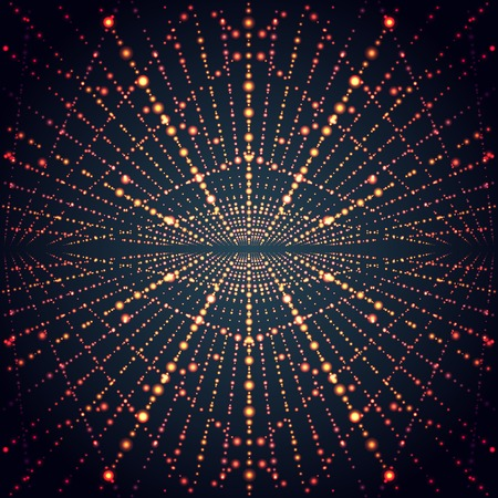 electric grid: Abstract perspective infinity grid with glowing stars. Digital design space, cell and light, futuristic science, electric neon. Vector illustration