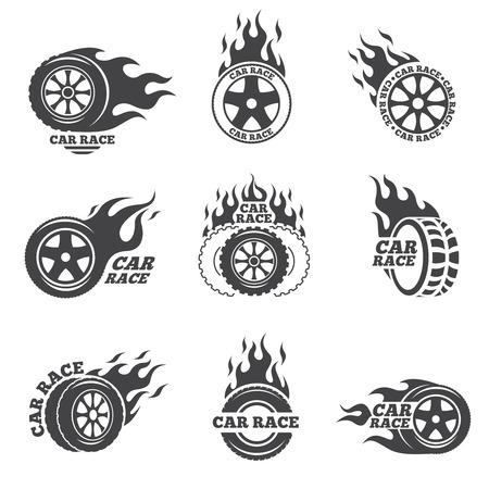 Autorennen-Logo gesetzt. Rad mit Feuer Flamme. Sport Geschwindigkeit, Reifen Blesse, Feuer und Blitz, Vektor-Illustration