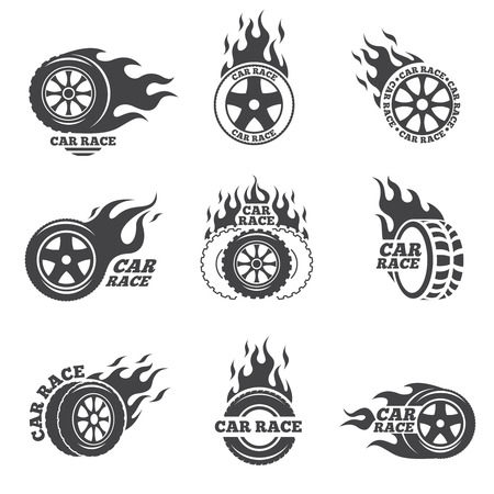 rims: Car race logo set. Wheel with fire flame. Sport speed, tyre blaze, fire and flash, vector illustration