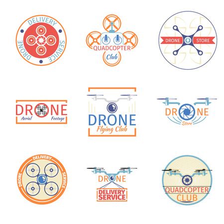 drone: Quadrocopter badges. Aviation drone, helicopter and control transport,  emblem aircraft, vector illustration