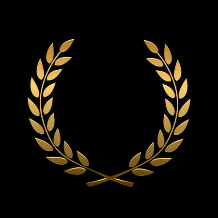 awarded: Vector gold award laurel wreath. Winner label, leaf symbol victory, triumph and success illustration Illustration