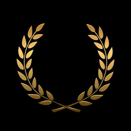 Wektor złota nagroda wieniec laurowy. Zwycięzca etykieta, symbol liścia zwycięstwo, triumf i sukces ilustracji