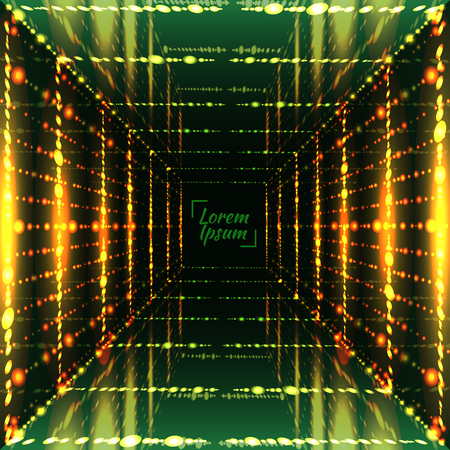 electric grid: Abstract bright grid background. Perspective space, cell light, glow corridor. Vector illustration