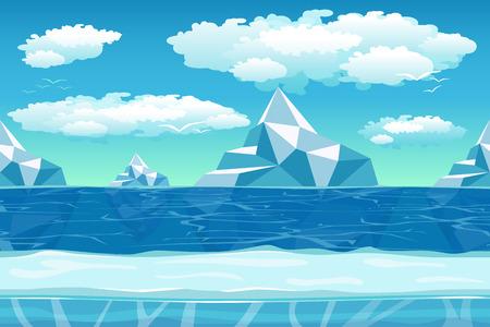 빙산과 얼음, 눈과 흐린 하늘 만화 겨울 풍경. 게임의 원활한 벡터 자연 배경입니다. 아이슬란드, 산, 북쪽 바다, 북극 환경 그림 일러스트