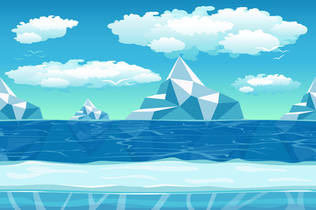 ocean view: Cartoon winter landscape with iceberg and ice, snow and cloudy sky. Seamless vector nature background for games. Iceland and berg, northern ocean, polar environment illustration Illustration
