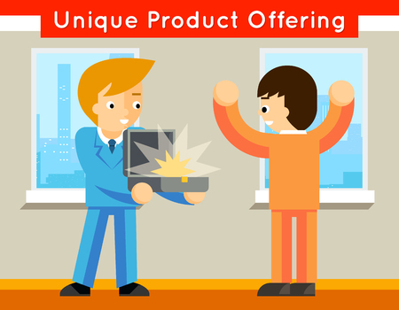 unique: Unique product offering. Sale and offer, promotion and buy, special business, vector illustration