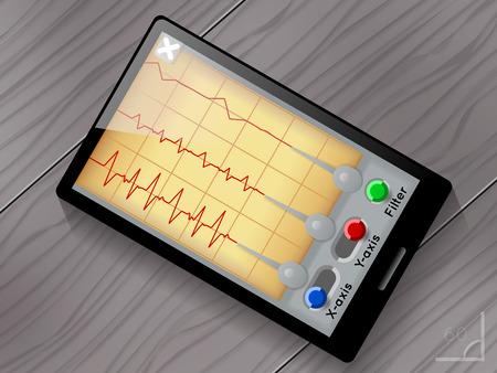sismogr�fo: Interfaz de usuario de aplicaciones vectorial sism�grafo. Pantalla y el dispositivo, terremoto y las olas, ilustraci�n gr�fica s�smica Vectores