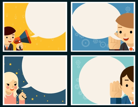 dialog balloon: Speaking and listening poster concept set. Balloon and banner, talk and dialog, speech vector illustration Illustration