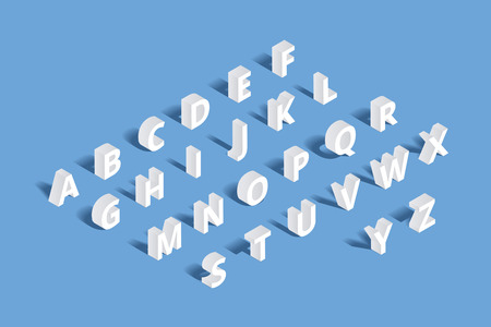 3d alphabet letter abc: Vector 3d isometric alphabet. Design letter, typography abc set, character geometric typographic sign illustration