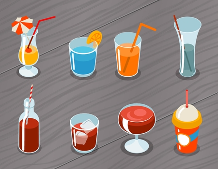 alcohol drinks: Set of isometric vector 3d drinks icons. Cocktail alcohol, liquid and juice, tropical fresh illustration