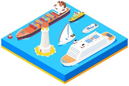sea transport: Isometric sea ships vector set. Lighthouse and buoy, ocean boat,  transport and transportation illustration