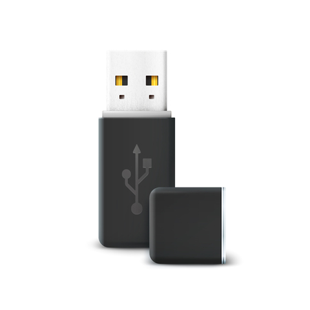 microdrive: Black flash drive isolated on white. Usb and hardware, information and memory transfer, technology storage, electronic portable and connect. Vector illustration