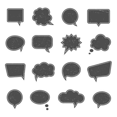 communication talk: Empty speech bubbles in modern vintage style. Dialogue and message, thought and communication, talk web cloud think, vector illustration