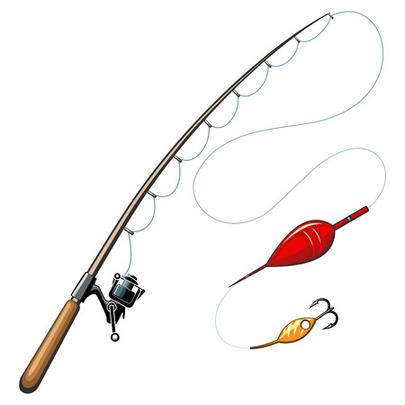 angling rod: Vector fishing rods. Catch and hobby, sport equipment, fish hook, object tool illustration