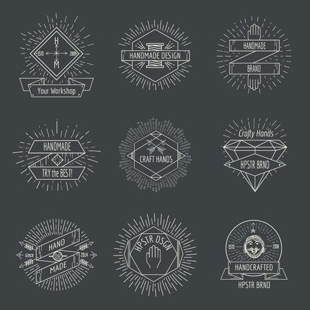 Handmade logo or crafts emblems vintage vector set. Label linear  badge illustration Illustration