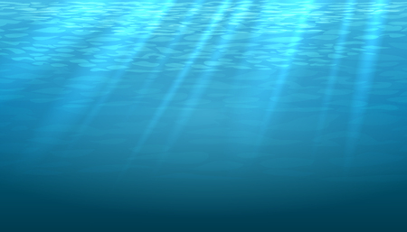 sunray: Empty underwater blue shine abstract vector background. Light and bright, clean ocean or sea illustration