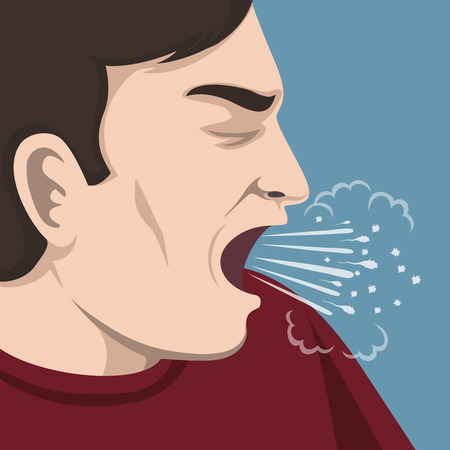Cough illustration. Man sick or ill, virus and influenza, vector illustration Illustration