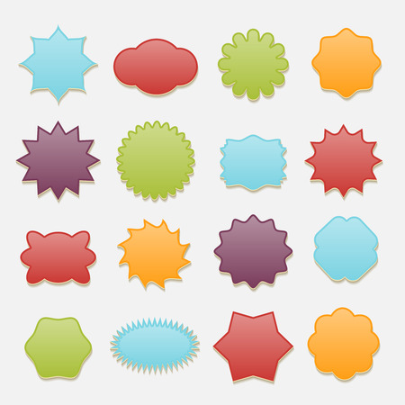 sticky: Sticky badges stars and clouds tags vector set. Label icon badge, blank round and cloud, star and circle illustration