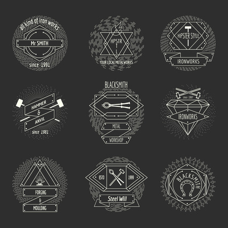 Blacksmith and forging logo or emblem vintage craft hipster vector set. Hammer and anvil, equipment and workshop illustration