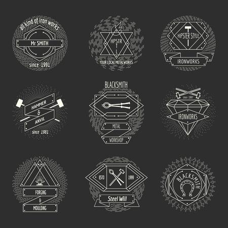 forging: Blacksmith and forging logo or emblem vintage craft hipster vector set. Hammer and anvil, equipment and workshop illustration