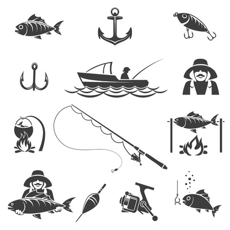 Fishing black icons vector set. Sport and fish hook, fisherman recreation illustration Illustration