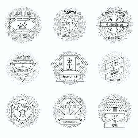 rekodzielo: Craft clothes studio, sewing workshop logo and tailor emblems vintage vector set. Pin and handicraft, needlecraft emblem illustration Ilustracja