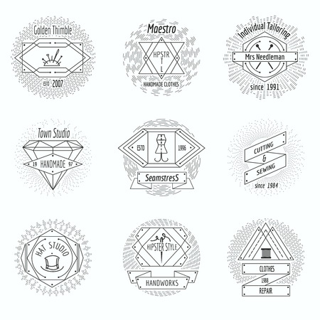 sew: Craft clothes studio, sewing workshop logo and tailor emblems vintage vector set. Pin and handicraft, needlecraft emblem illustration Illustration