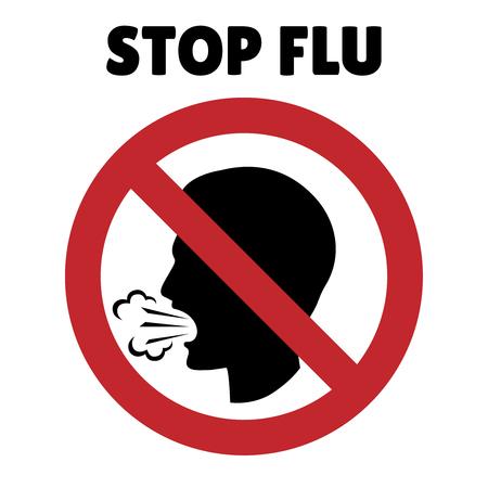 gripe: Pare la muestra de la gripe. Tos hombre en el marco de la prohibición. La enfermedad y la alerta, prohibido y peligro, prohibición y protección, ilustración vectorial