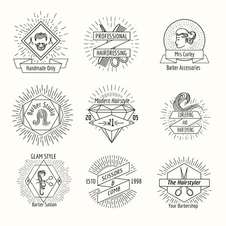hairdressing salon: Hairdressing salon logo set in vintage hipster style. Barber shop, mustache and hair style, scissor and haircut, vector illustration Illustration
