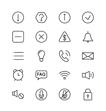 알림: 알림 및 정보 선형 아이콘을 설정합니다. 물음표, 느낌표와 관심, 도움말과 Q, 벡터 일러스트 레이 션 일러스트