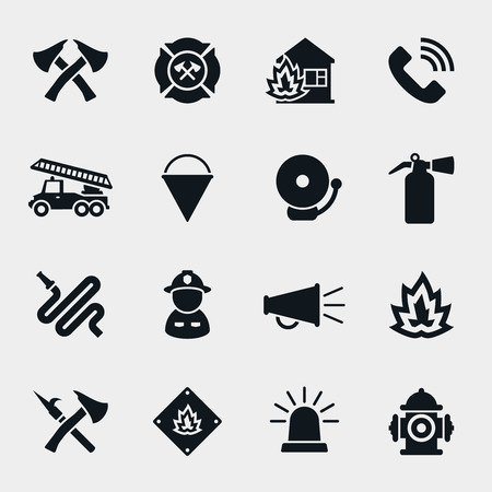extinguisher: Fire fighter icons set. Firefighter and axe, protection and safety,  helmet and hose, vector illustration