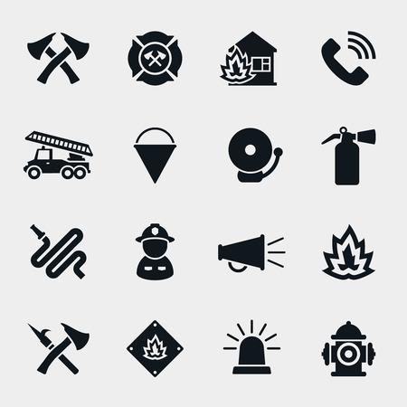 emergencia: Iconos de bombero. Bombero y el hacha, la protección y la seguridad, el casco y la manguera, ilustración vectorial Vectores