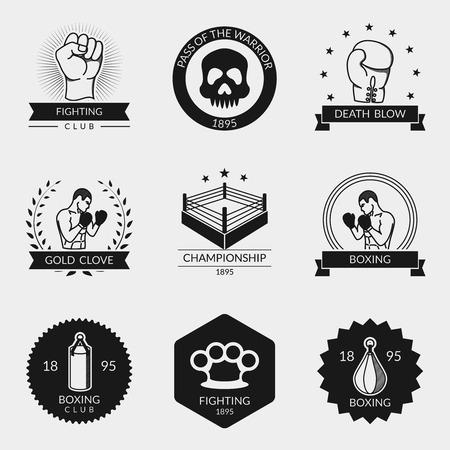 Les combats et la boxe vecteur logo noir et ensemble emblème. Lutte emblème, crâne et anneau, gants et un poing américain illustration