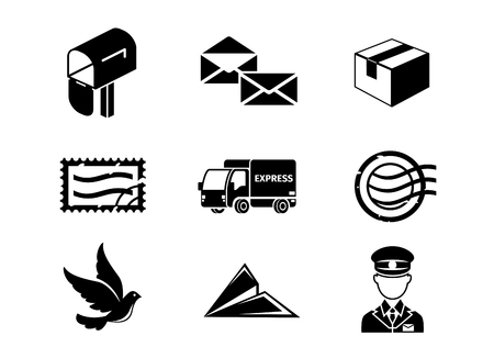 delivery icon: Post service vector black icon set. Mail and letter, envelope send, label and delivery illustration