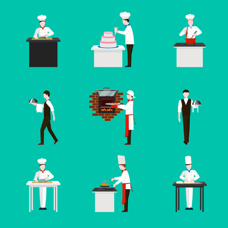 confectioner: Cooking with chef figures vector icons set. Dinner in restaurant,  cake and kitchen illustration Illustration