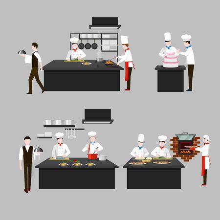 chef cocinando: Proceso de cocción en la cocina del restaurante. Alevines de cocinero, gente de carácter, Scullion confitero camarero. Vector ilustración plana