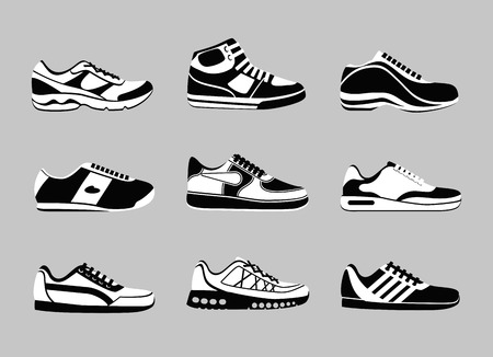 mindennapi: Set of sneakers icons. Vogue sport shoe, fashion sportwear, everyday footwear, vector illustration