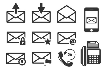 email icons: Email and phone vector icons set. Envelope and communication,  mail web illustration