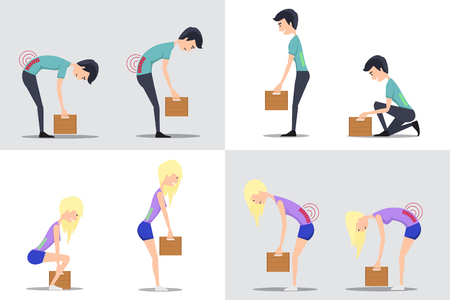 instruct: Proper and improper lifting. Correct and heavy box, weight and man, carry and woman, vector flat illustration