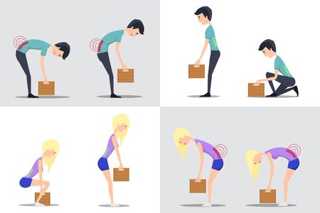Sollevamento corretto e improprio. Correggere e pesante scatola, il peso e l'uomo, trasportare e la donna, illustrazione vettoriale piatta