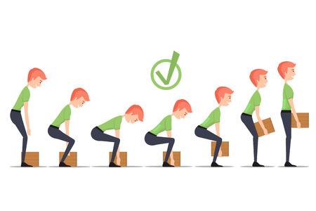 buena postura: Elevación segura de objetos pesados. Levante correcta, peso de la caja, el hombre de transporte, entrega a mano, ilustración vectorial