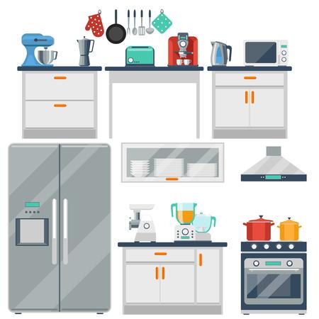 Cocina vector plano con utensilios de cocina, equipo y mobiliario. Refrigerador y horno de microondas, tostadora y cocina, licuadora y molinillo de ilustración