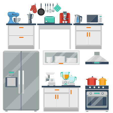 Flat vector kitchen with cooking tools, equipment and furniture. Refrigerator and microwave, toaster and cooker, blender and grinder illustration Çizim