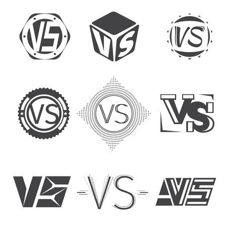 vs: Versus letters logos. Competition icons vector set. VS monochrome, symbol letter illustration